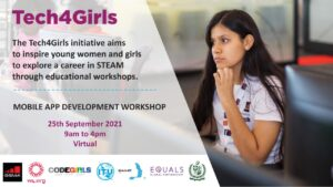 CODEGIRLS organize EQUALS TECH4GIRLS Workshop supported by Ministry of Information Technology and Telecommunication of Pakistan, GSMA, W4, ITU